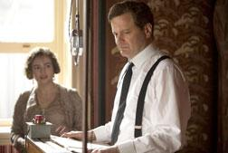 "Still of Colin Firth and Helena Bonham Carter in ""The King's Speech."""