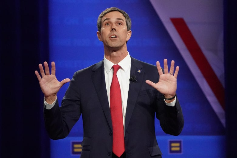 Former Rep. Beto O'Rourke  speaks at the Human Rights Campaign Foundation and CNN presidential town hall focused on LGBTQ issues on October 10, 2019 in Los Angeles, California.