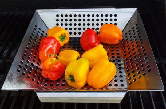 Grillux Grill Basket with peppers inside.