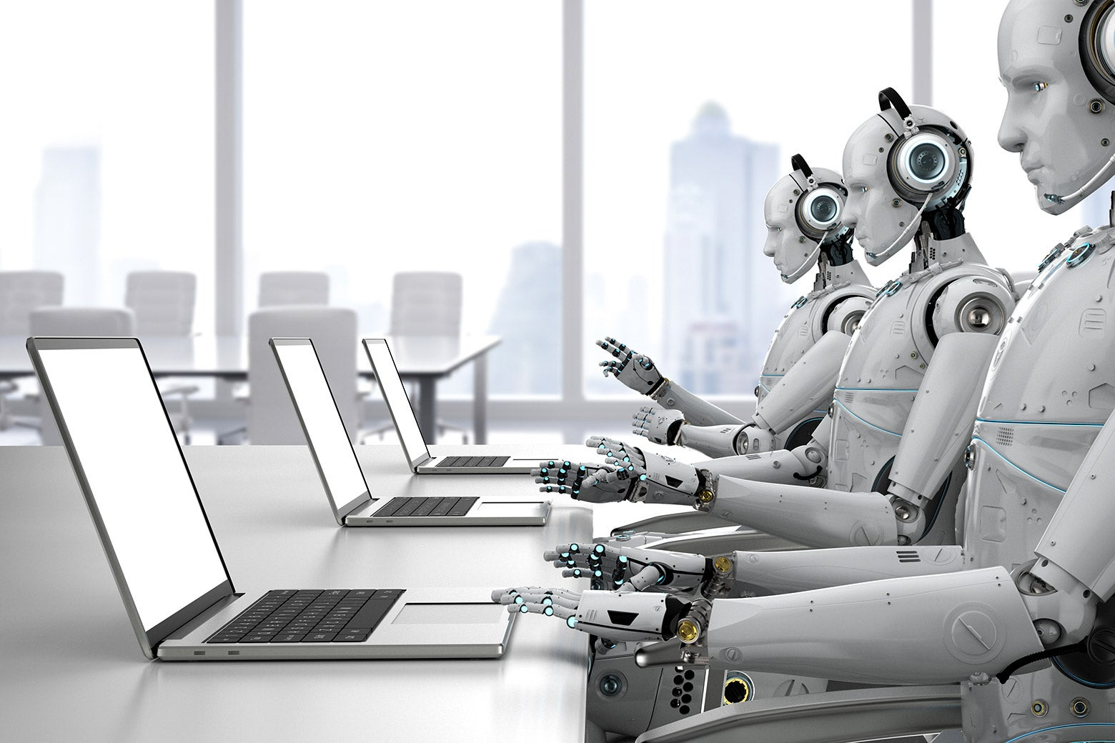 Three robots working at a conference room table.
