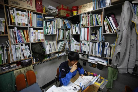 A student takes college entrance exams.