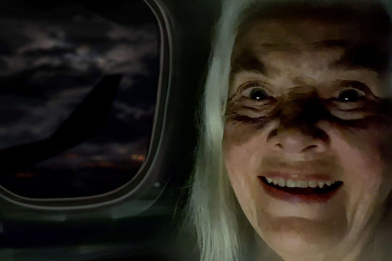 Lois Smith in front of a drawing of an airplane window.