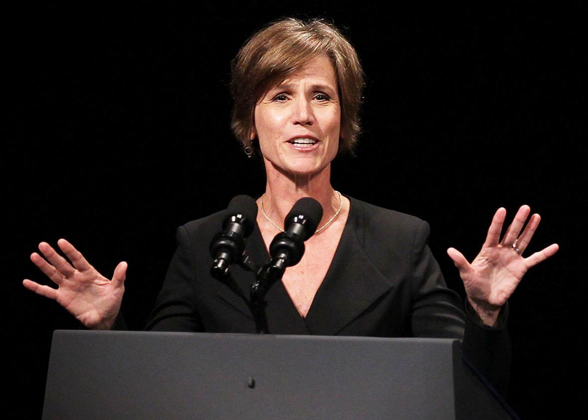 U.S. Deputy Attorney General Sally Yates speaks during a formal investiture ceremony for Attorney General Loretta Lynch June 17, 2015 at the Warner Theatre in Washington, DC.