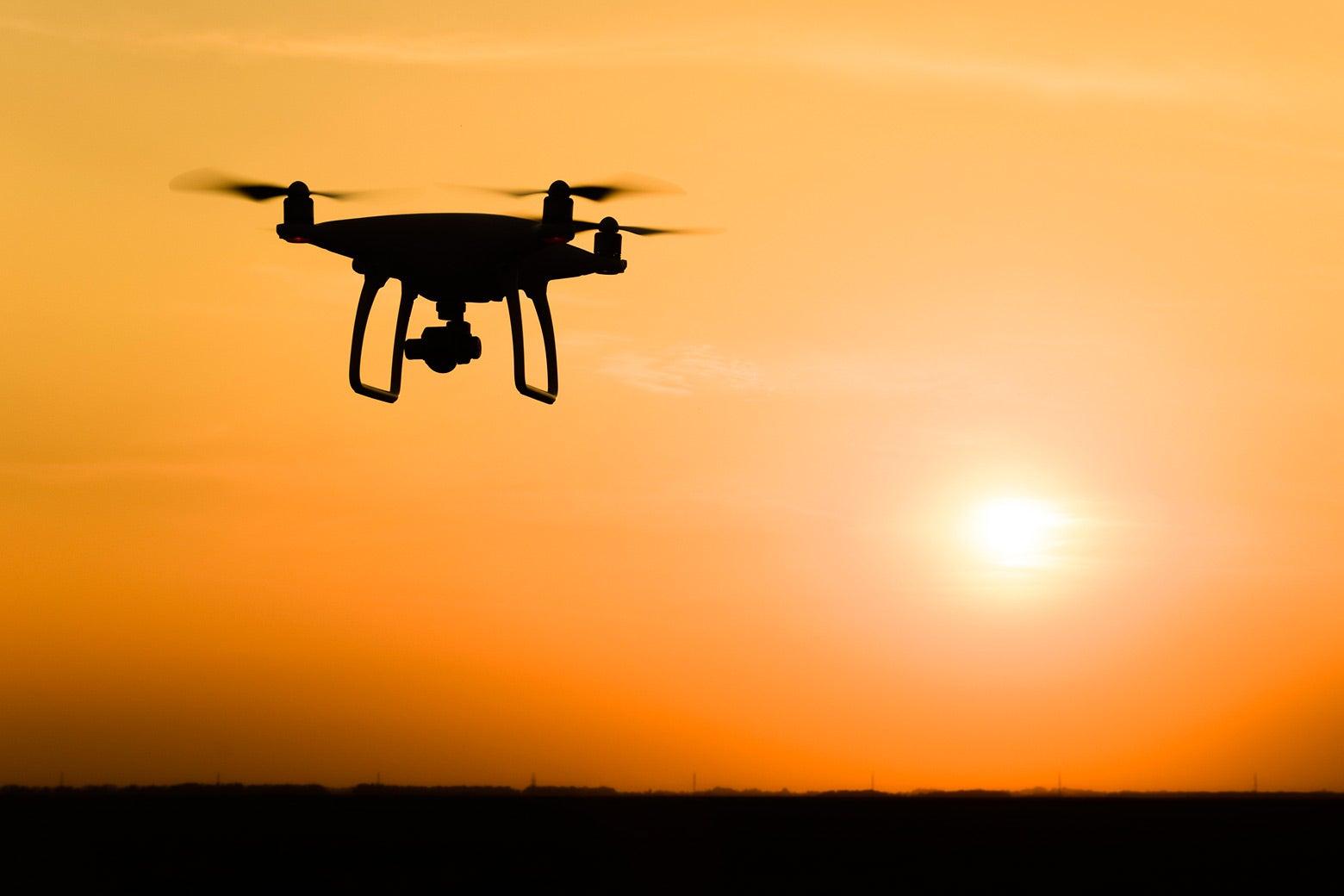 A drone against a sunny sky.