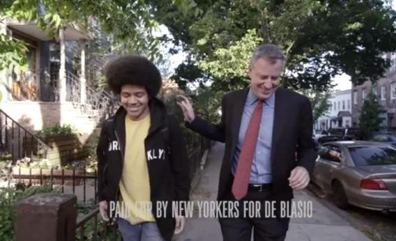 "In an enormously popular TV ad, Bill de Blasio's 15-year-old son Dante talked about how the candidate would oppose Michael Bloomberg's ""stop-and-frisk"" policies."