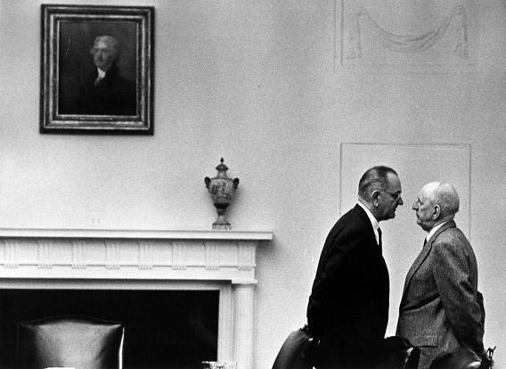 President Lyndon Johnson with Senator Richard Russell at the White House, December 7, 1963, Washington, DC.