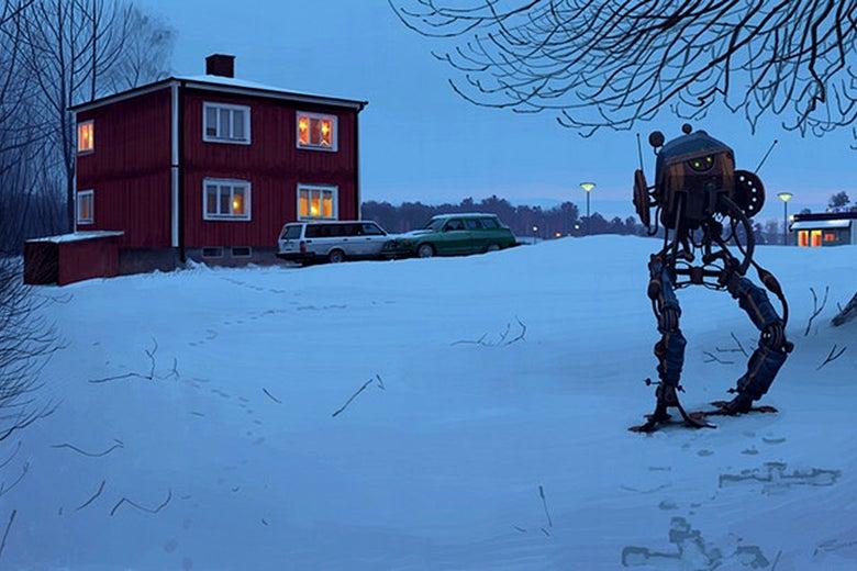 A robot examining the exterior of a house.