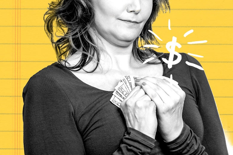 Woman clutching a handful of dollar bills to her chest.