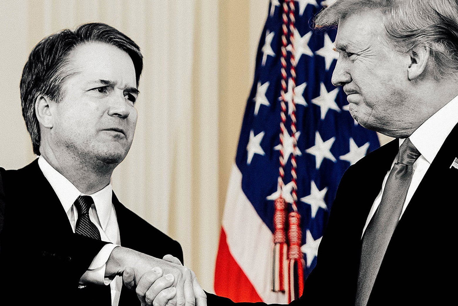 Kavanaugh and Trump in black and white against a full-color background