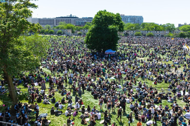 Tens of thousands descend up Seward Park during a demonstration on June 6, 2020 in Chicago, Illinois.