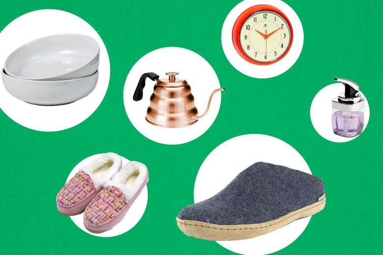 Collage of slippers, a clock, a soap dispenser and a set of white bowls on white dots against a green background.