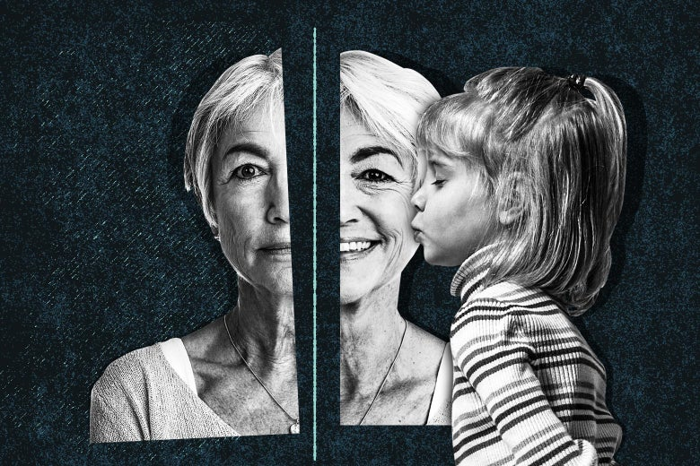 A grandmother's face split in half. The left side shows her sad and lonely. The right side shows her happy, being kissed on the cheek by her great granddaughter.