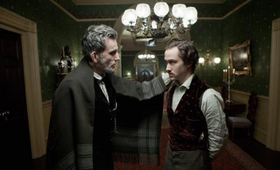 Daniel Day-Lewis and Joseph Gordon-Levitt in Lincoln.