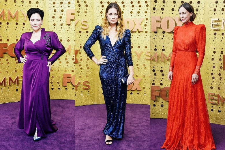 Alex Borstein, Annie Murphy, and Vera Farmiga on the Emmys purple carpet.