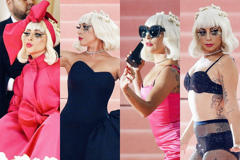 Lady Gaga in each of the four nested outfits.