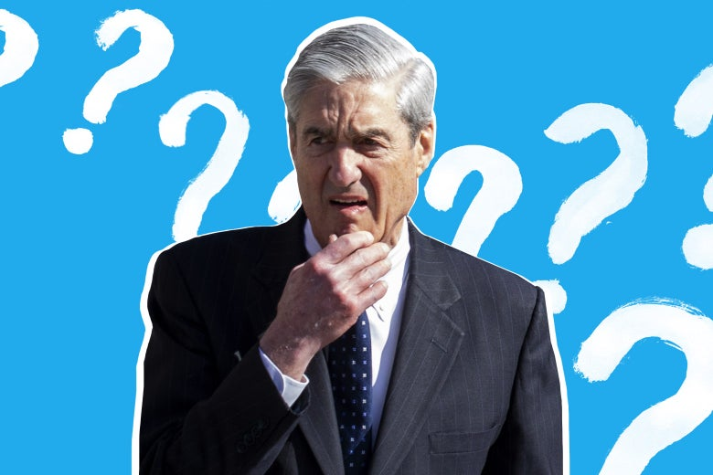 Robert Mueller touching his chin, looking puzzled, surrounded by question marks.
