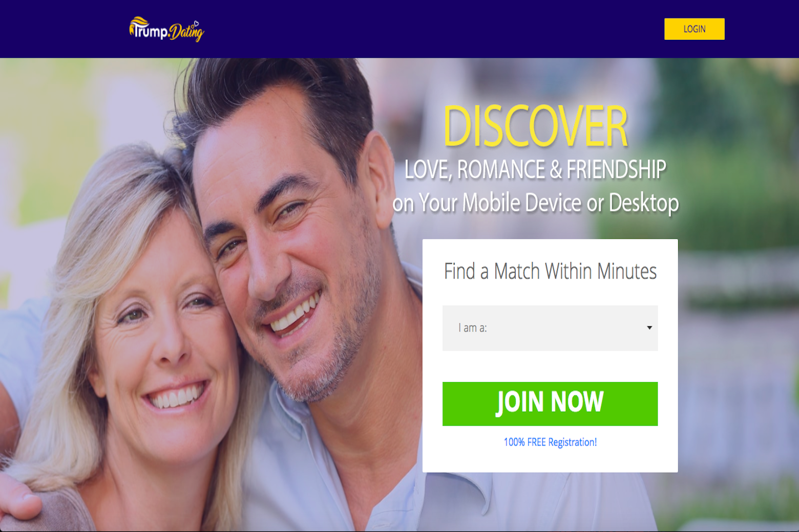 A white couple seen embracing on the Trump.dating homepage.