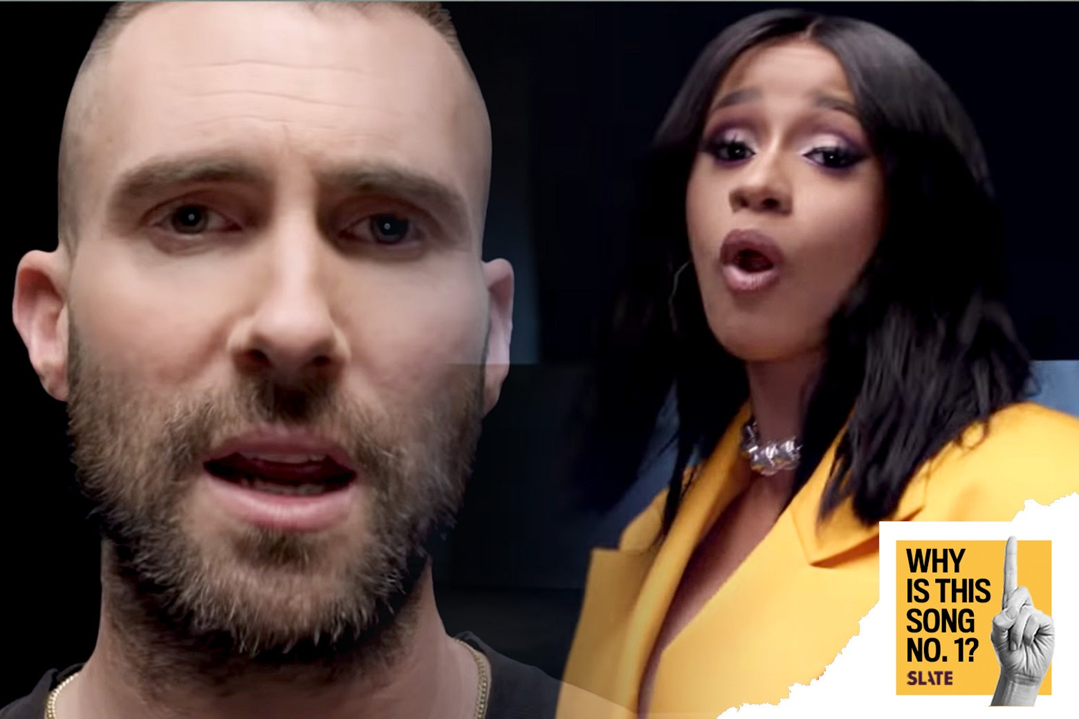 "Adam Levine and Cardi B singing in the ""Girls Like You"" video."