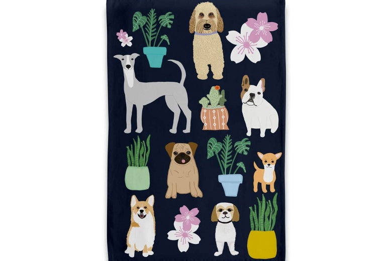 Naked Decor Dogs With Plants Tea Towel