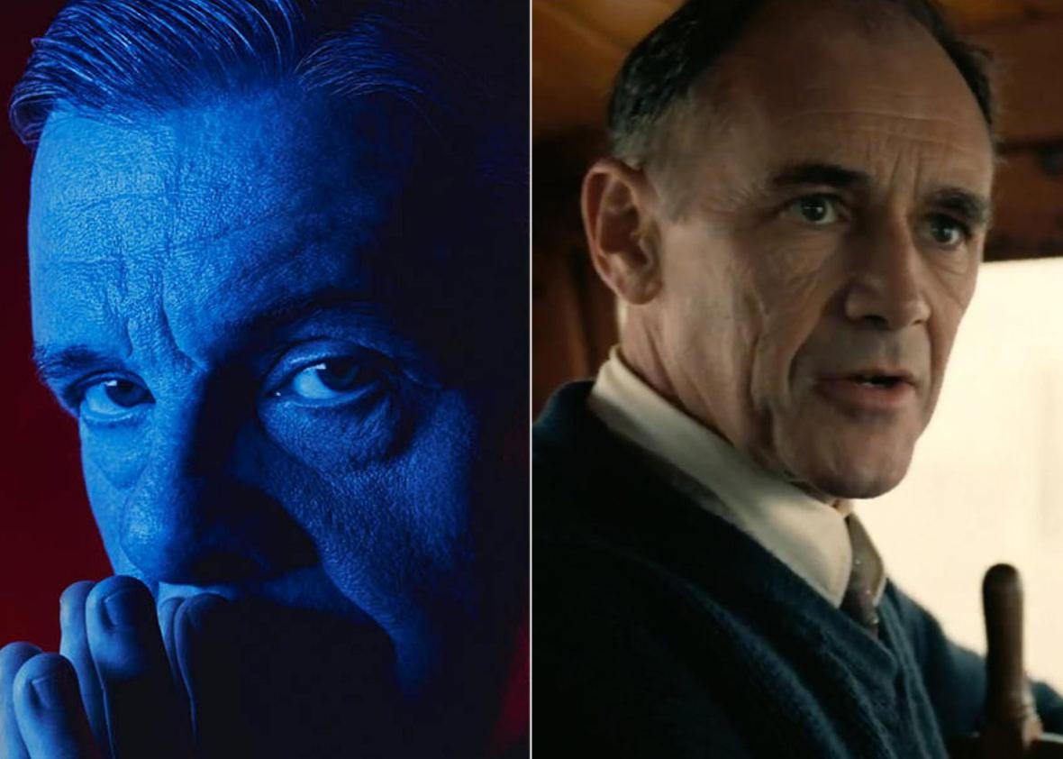 Left: Nathan Lane in Angels in America. Right: Mark Rylance in Dunkirk.