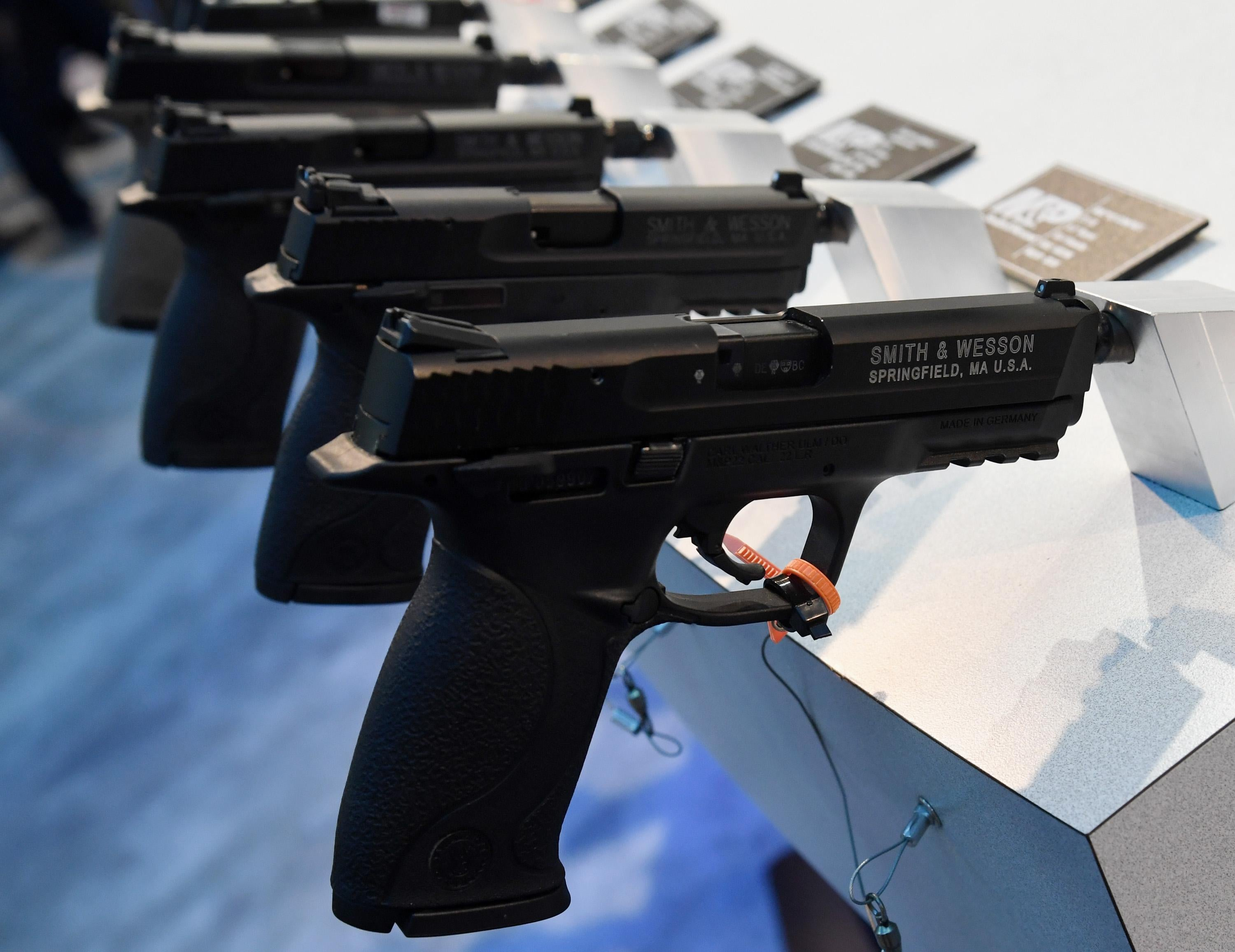 LAS VEGAS, NV - JANUARY 23:  Handguns are displayed at the Smith & Wesson booth at the 2018 National Shooting Sports Foundation's Shooting, Hunting, Outdoor Trade (SHOT) Show at the Sands Expo and Convention Center on January 23, 2018 in Las Vegas, Nevada. The SHOT Show, the world's largest annual trade show for shooting, hunting and law enforcement professionals, runs through January 26 and is expected to feature about 1,600 exhibitors showing off their latest products and services to more than 60,000 attendees.  (Photo by Ethan Miller/Getty Images)