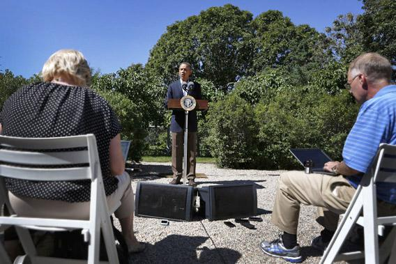 President Obama makes a statement about the violence in Egypt while at his rental vacation home on the Massachusetts island of Martha's Vineyard.