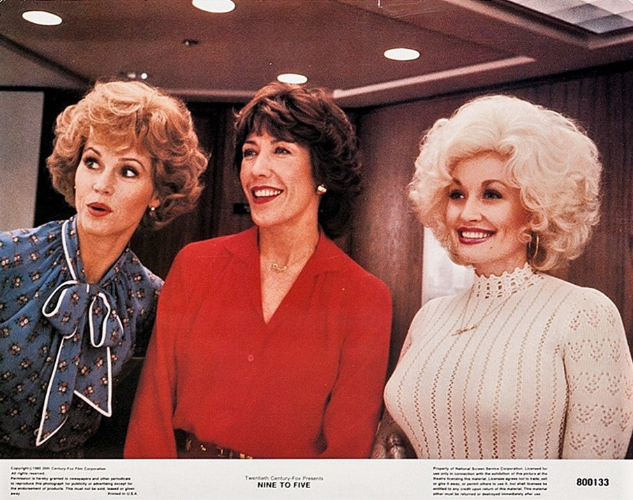 Jane Fonda, Dolly Parton, and Lily Tomlin in Nine to Five.