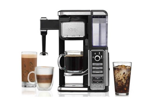 Ninja single-serve system with built-in frother.