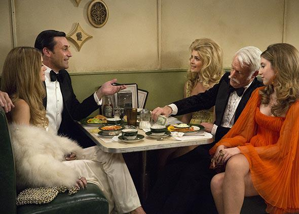 Jon Hamm as Don Draper and John Slattery as Roger Sterling in Mad Men.