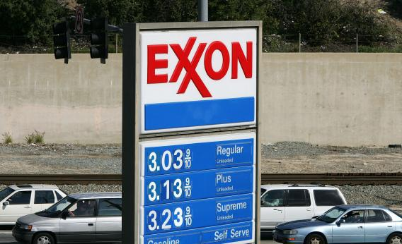 An Exxon gas station advertises its gas prices on Feb. 1, 2008, in Burbank, Calif.