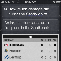 Siri confused by Hurricane Sandy