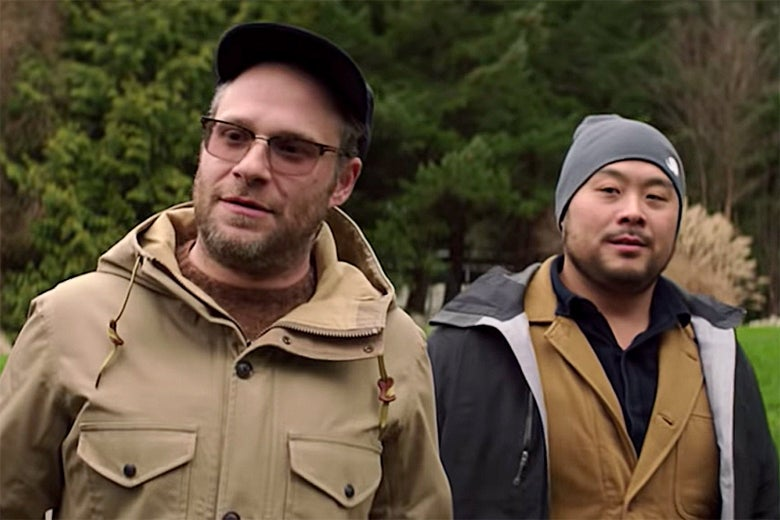 Seth Rogen and David Chang in Netflix's Breakfast, Lunch & Dinner.