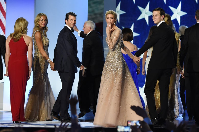 Ivanka Trump blows a kiss to the crowd as she leaves the stage with Jared Kushner, Donald Trump Jr., Vanessa Trump, and Mike Pence.