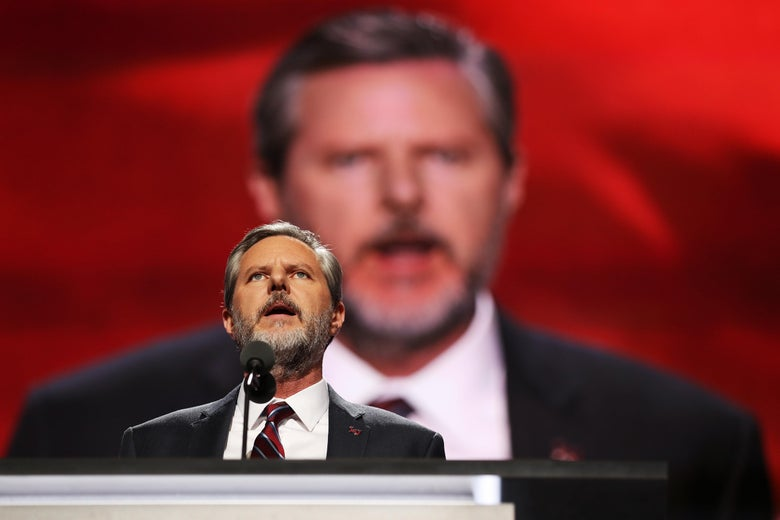 CLEVELAND, OH - JULY 21:  President of Liberty University, Jerry Falwell Jr., delivers a speech during the evening session on the fourth day of the Republican National Convention on July 21, 2016 at the Quicken Loans Arena in Cleveland, Ohio. Republican presidential candidate Donald Trump received the number of votes needed to secure the party's nomination. An estimated 50,000 people are expected in Cleveland, including hundreds of protesters and members of the media. The four-day Republican National Convention kicked off on July 18.  (Photo by John Moore/Getty Images)