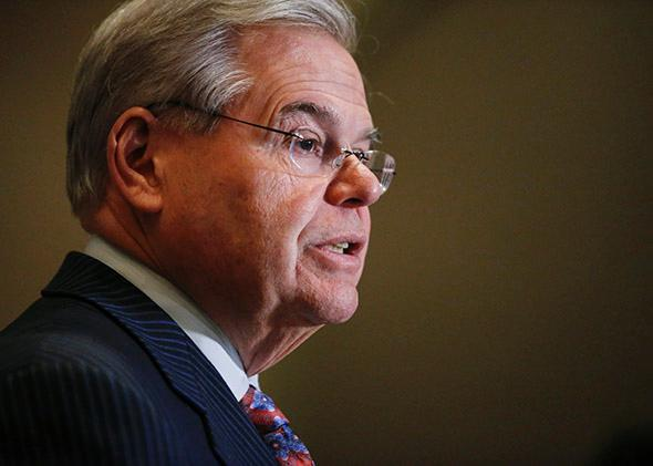 Sen. Bob Menendez speaks at a press conference on March 6, 2015, in Newark, New Jersey