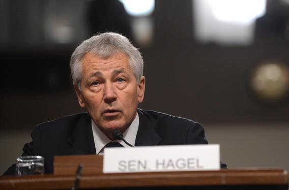 Chuck Hagel testifying during confirmation hearing.
