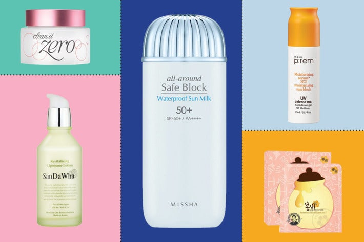 Collage of Korean beauty products.