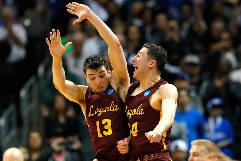 ATLANTA, GA - MARCH 22: Clayton Custer #13 and Ben Richardson #14 of the Loyola Ramblers celebrate after defeating the Nevada Wolf Pack during the 2018 NCAA Men's Basketball Tournament South Regional at Philips Arena on March 22, 2018 in Atlanta, Georgia.  (Photo by Kevin C. Cox/Getty Images)