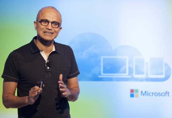 Microsoft CEO Satya Nadella speaks at a media event in San Francisco on March 27, 2014.