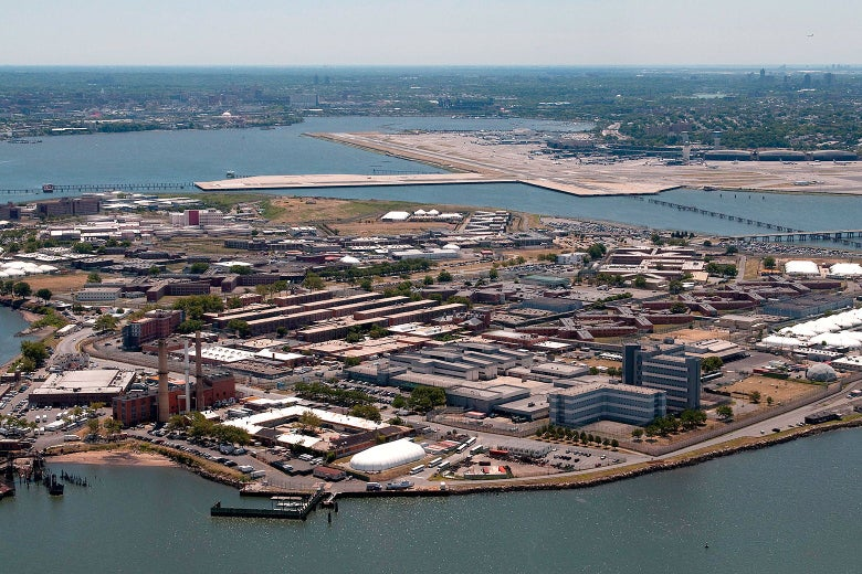 An aerial view of the Rikers Island prison in New York City.