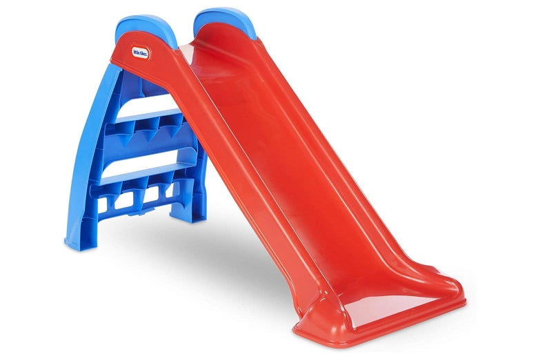 A red plastic slide.