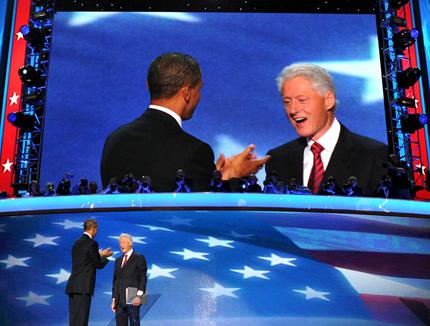 The 42nd President of the United States Bill Clinton and the 44th President of the United States Barack Obama.