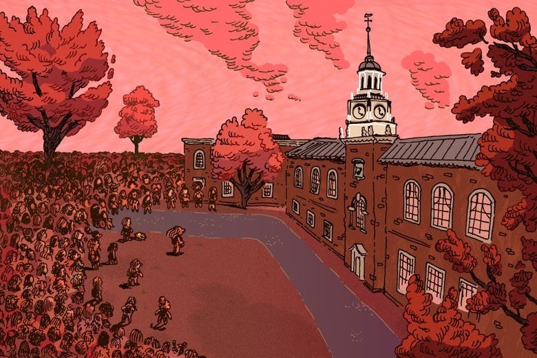 An illustration of a crowd of women on Dartmouth's campus.