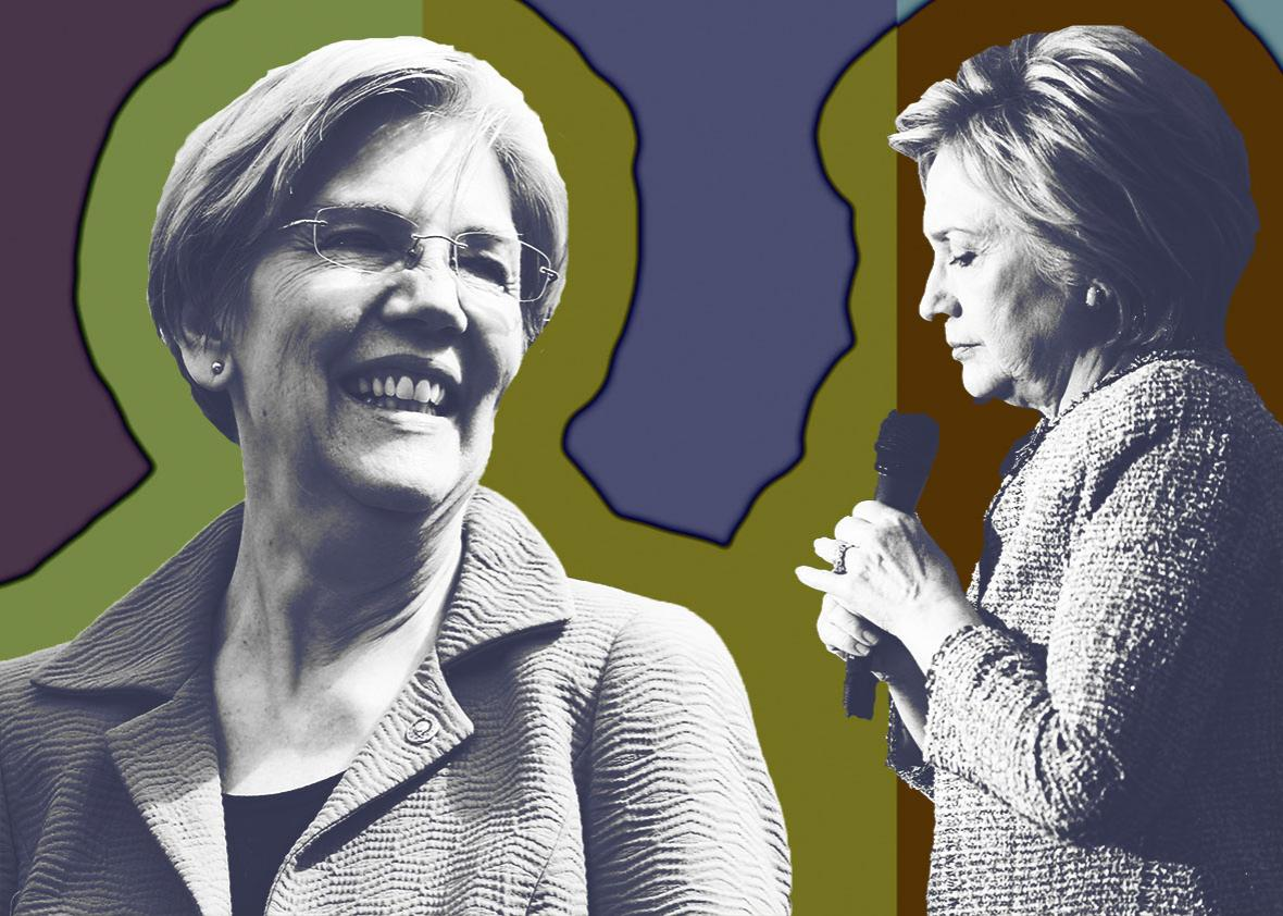 Sen. Elizabeth Warren and Hillary Clinton.