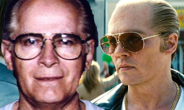 "James ""Whitey"" Bulger in a 1994 FBI photo, and Johnny Depp i,James ""Whitey"" Bulger in a 1994 FBI photo, and Johnny Depp in Black Mass."