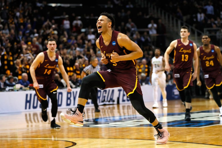 ATLANTA, GA - MARCH 22:  Marques Townes #5 of the Loyola Ramblers reacts after making a late three point basket in the second half against the Nevada Wolf Pack during the 2018 NCAA Men's Basketball Tournament South Regional at Philips Arena on March 22, 2018 in Atlanta, Georgia.  (Photo by Kevin C. Cox/Getty Images)
