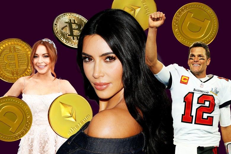Lindsay Lohan, Kim Kardashian, and Tom Brady surrounded by Bitcoins and other cryptocurrency.