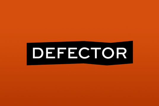 """The Defector logo, featuring the words """"Defector"""" in white, highlighted in black, against a red background."""