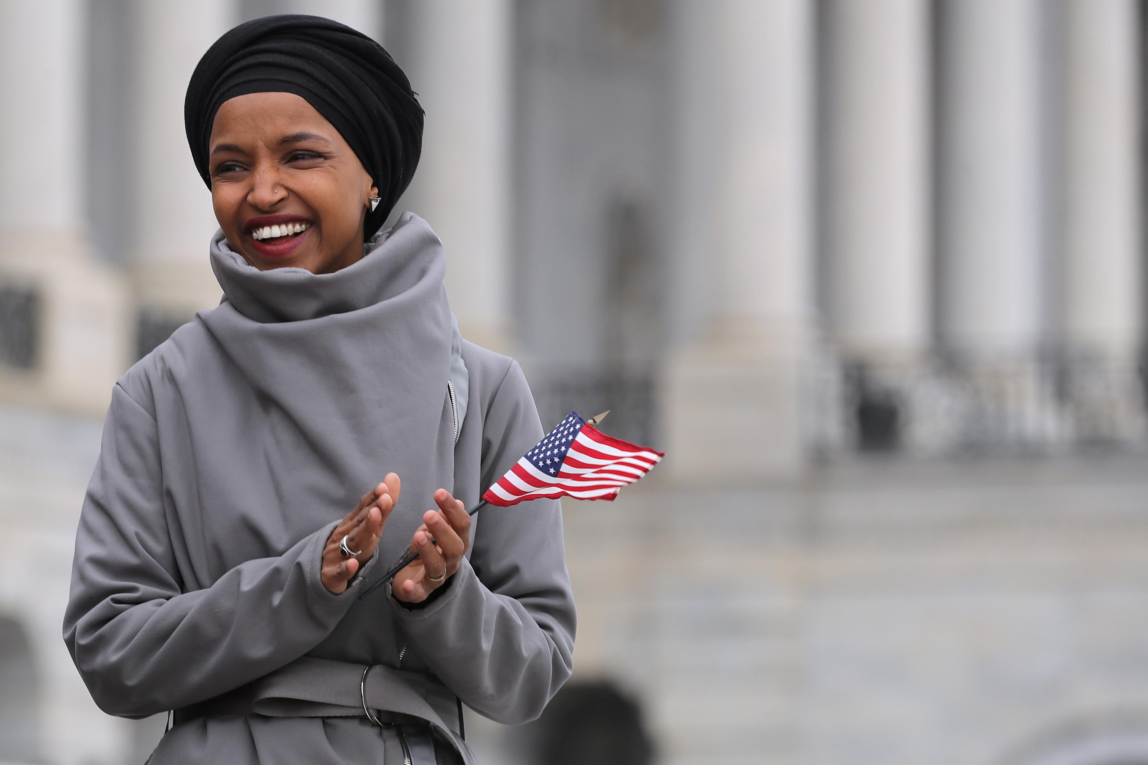 Rep. Ilhan Omar (D-MN) rallies with fellow Democrats on the East Steps of the U.S. Capitol on March 8, 2019 in Washington, D.C.
