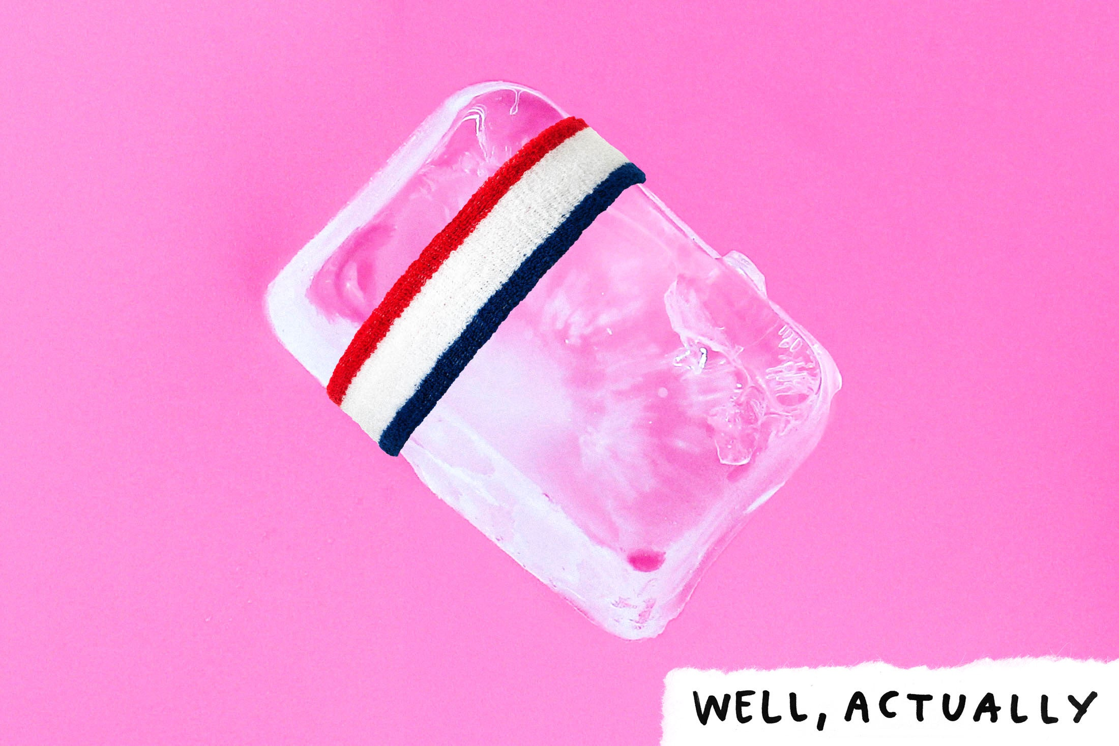 An ice cube with a headband wrapped around it